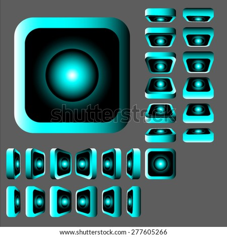 Neon button at different angles,vector