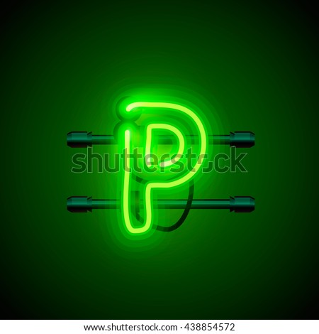 Neon city font letter p signboard. Vector illustration - stock vector