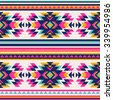 neon color tribal Navajo seamless pattern. aztec abstract geometric art print. ethnic hipster backdrop.  Wallpaper, cloth design, fabric, paper, wrapping, textile. - stock photo