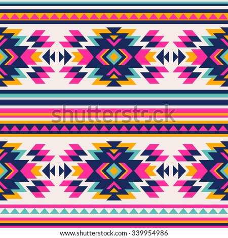 neon color tribal Navajo seamless pattern. aztec abstract geometric art print. ethnic hipster backdrop.  Wallpaper, cloth design, fabric, paper, wrapping, textile. - stock vector