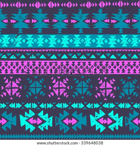 Neon Color Tribal Navajo Seamless Pattern Aztec Grunge Abstract Geometric Art Print Ethnic Hipster