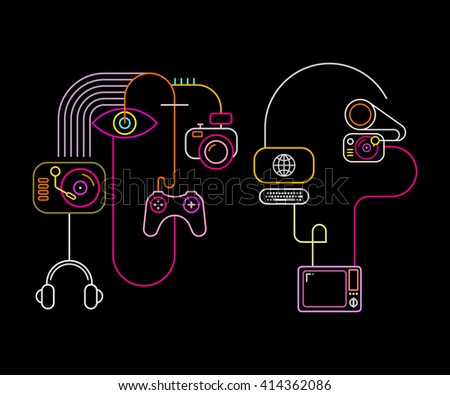 Neon colors on a black background Abstract Faces vector illustration. Abstract line art composition with home electronics. - stock vector