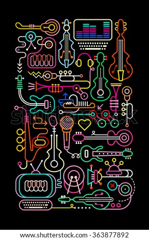 Neon colors on a black background music shop vector illustration. - stock vector