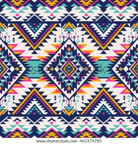 Neon Colors Tribal Vector Seamless Pattern Aztec Abstract Geometric Art Print Ethnic Hipster