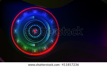 Neon dial. Clock face. Abstract background.Technology