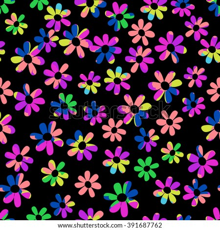 neon ditsy floral ~ seamless background - stock vector