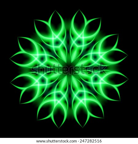 Neon element round shape green on a black background - stock vector