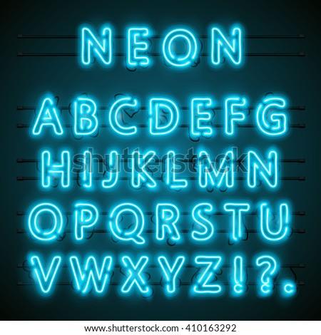 Neon font text. Neon blue font english. City blue font. Alphabet font. Vector illustration - stock vector