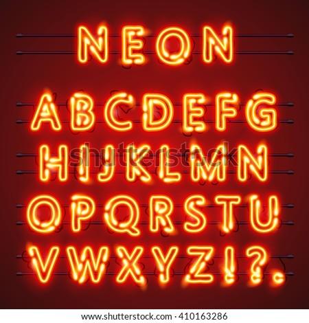 Neon font text. Neon font city, City font, Alphabet font. Vector illustration - stock vector