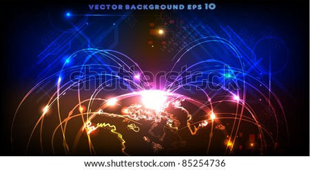 neon globe with sputniks line - stock vector