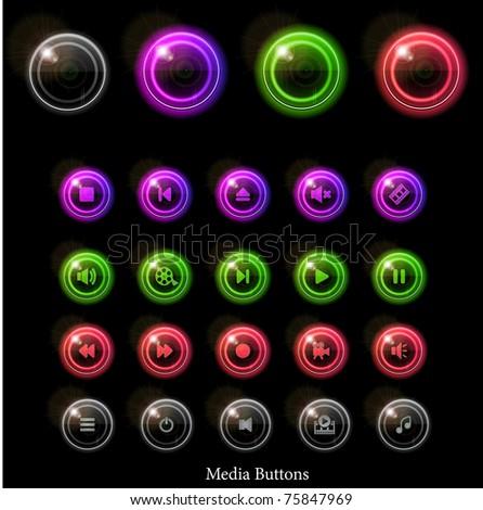 Neon glossy media buttons. Vector illustration eps10. - stock vector