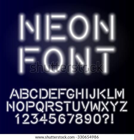 Neon glow alphabet custom handcrafted font. Font for design. Vector eps10. - stock vector