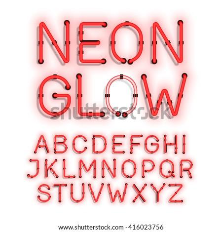 Neon Glow alphabet on white background vector illustration - stock vector