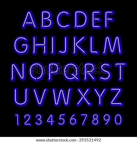 Neon glow alphabet. Vector design party retro 3d art neon font, - stock vector