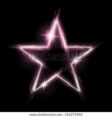 Neon glowing pink star with reflection in space - stock vector