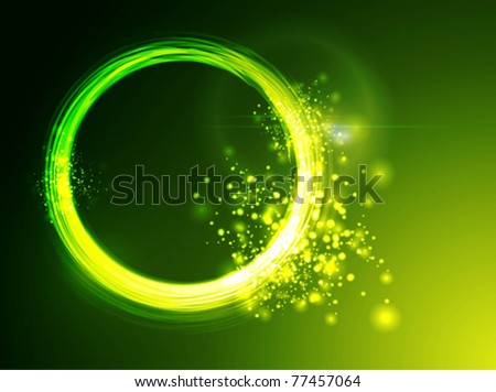 Neon green circles background - stock vector