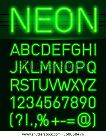 Neon Green Light Alphabe. Neon tube letters on a dark background - stock vector