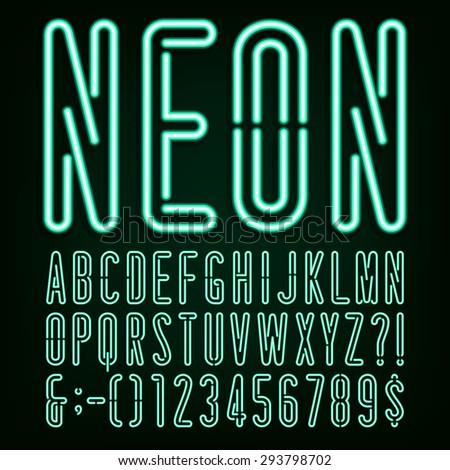 Neon Green Light Alphabet Font. Narrow type letters, numbers and punctuation marks. Stock vector for your headlines, posters etc. - stock vector