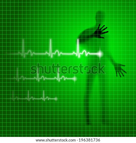Neon green medical background with human silhouette and cardiogram line