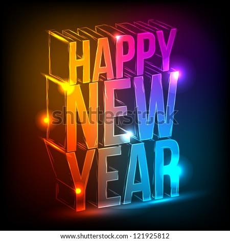 Neon. Happy New Year.eps 10 - stock vector