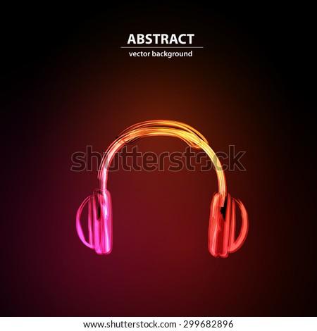 Neon Headphones grunge music easy editable - stock vector