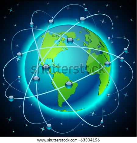 Neon high-detailed Communication Earth. Vector. - stock vector