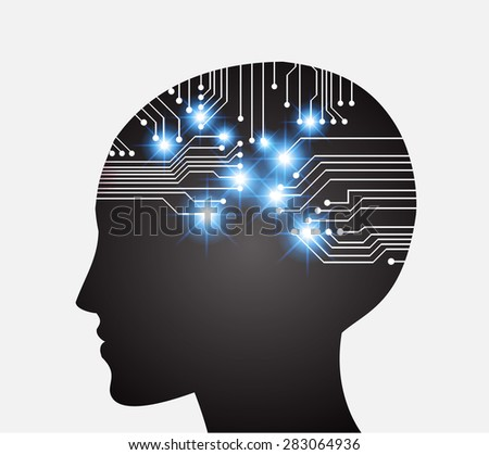 Neon human head. Cpu. black Circuit board. Vector illustration. Abstract Technology background for computer graphic website internet and business. infographics. - stock vector