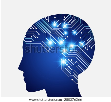 Neon human head. Cpu. blue Circuit board. Vector illustration. Abstract Technology background for computer graphic website internet and business. infographics. - stock vector