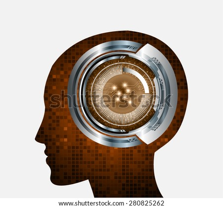 Neon human head. Cpu. brown Circuit board. Vector illustration. Abstract Technology background for computer graphic website internet and business. infographics. pixel. digital logo.