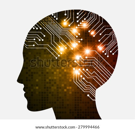 Neon human head. Cpu. orange Circuit board. Vector illustration. pixel. Abstract Technology background for computer graphic website internet and business. infographics. - stock vector