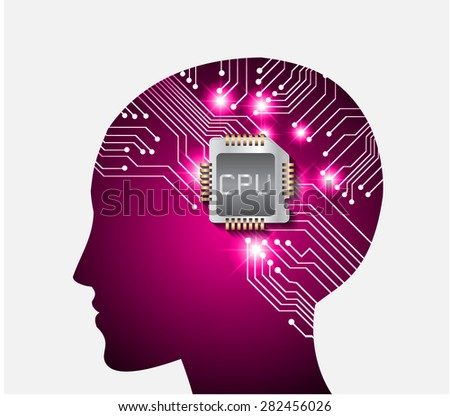 Neon human head. Cpu. pink Circuit board. Vector illustration. Abstract Technology background for computer graphic website internet and business. infographics. - stock vector