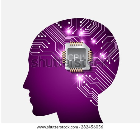 Neon human head. Cpu. purple Circuit board. Vector illustration. Abstract Technology background for computer graphic website internet and business. infographics. - stock vector