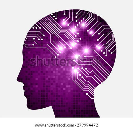 Neon human head. Cpu. purple Circuit board. Vector illustration. pixel. Abstract Technology background for computer graphic website internet and business. infographics. - stock vector
