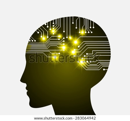 Neon human head. Cpu. yellow Circuit board. Vector illustration. Abstract Technology background for computer graphic website internet and business. infographics. - stock vector