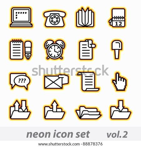 Neon icon set(vector, CMYK) - stock vector