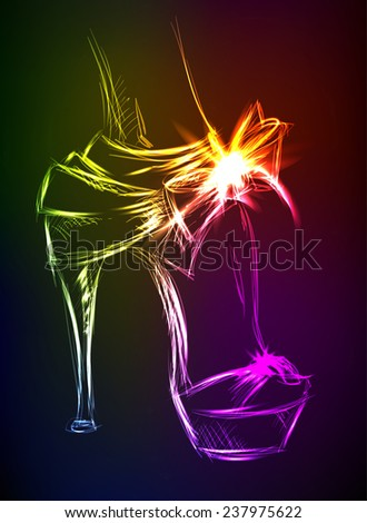 Neon illustration. Beautiful female high-heeled shoes - stock vector