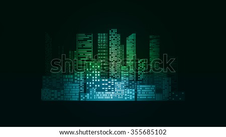 Neon illustration with city buildings and skyscrapers for infographics, design and your creativity