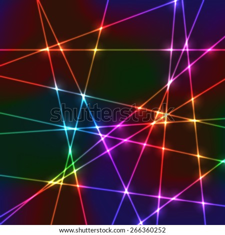 Neon laser grid with random beams for disco show or party  - stock vector