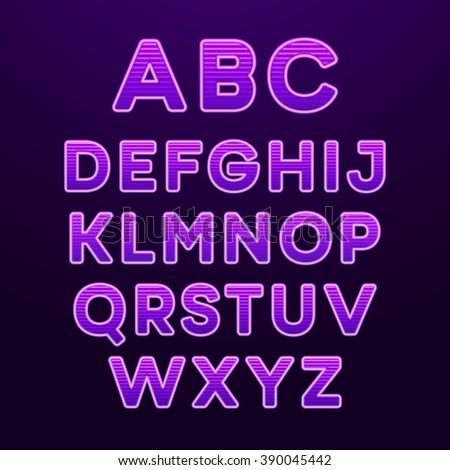 Neon Light Alphabet Font. Vector illustration EPS10 - stock vector