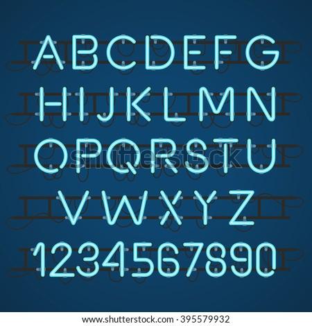 Neon Light Alphabet Vector Font - stock vector