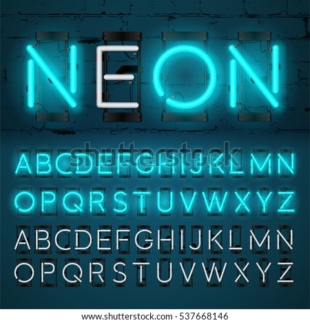 Neon Light Alphabet Vector Font. Glowing text effect. On and Off lamp. Neon tube letters on Brick wall background. isolated on blue background