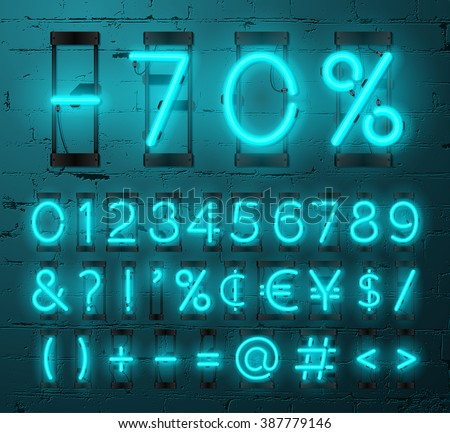 Neon Light Alphabet Vector Font. Numbers and punctuation marks. Neon tube letters on Brick wall background - stock vector