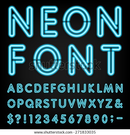 Neon light alphabet vector font type stock photo photo vector neon light alphabet vector font type letters numbers and punctuation marks neon tube altavistaventures Image collections