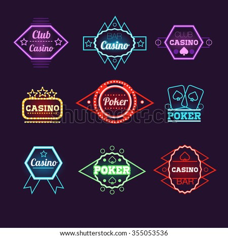 Neon Light Poker Club and Casino Emblems Vector Collection - stock vector