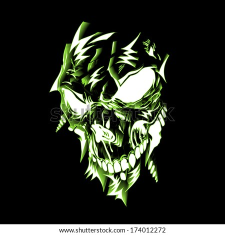 Neon lighting skull illustration - 3D abstract street art vector - stock vector