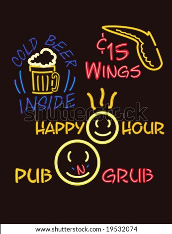 neon lights pub version 1 - stock vector