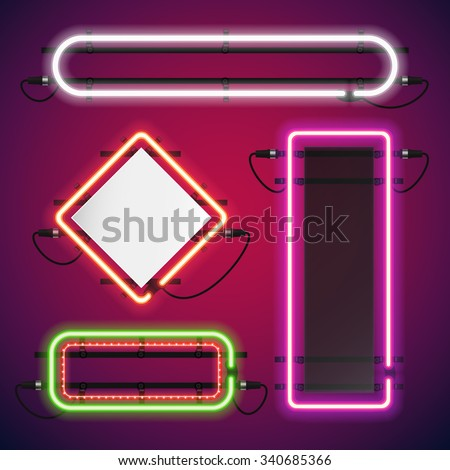 Neon Lights Rectangle Frames Set for Your Custom Banner. Used pattern brushes included. There are fastening elements in a symbol palette. - stock vector