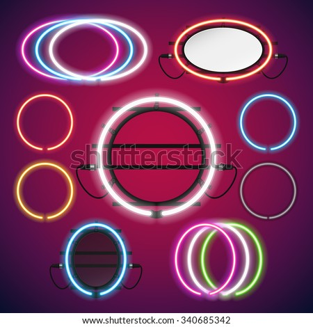 Neon Lights Round Frames Set for Your Custom Banner. Used pattern brushes included. There are fastening elements in a symbol palette. - stock vector