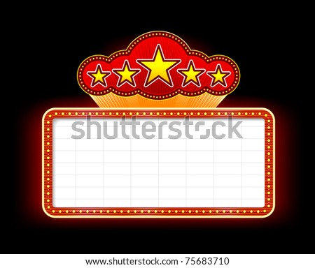 Neon marquee sign vector illustration on black background. EPS v. 8.0 - stock vector