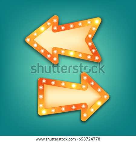 Neon Marquee Vector Retro Arrow Sign With Light Bulbs Realistic 3d For Casino